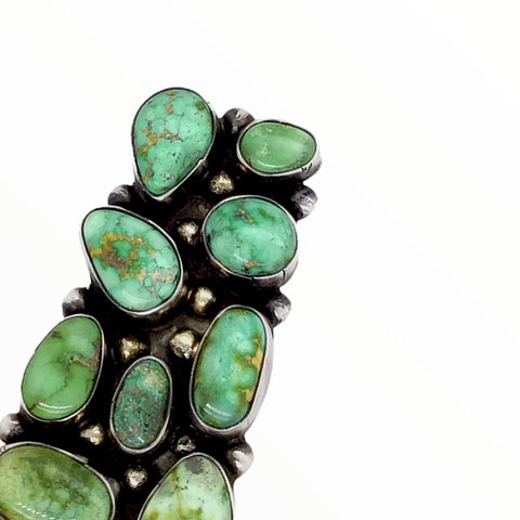 Native American Ring - Navajo Large Rectangular 9-Stone Sonoran Gold Turquoise Cluster Sterling Silver Ring - Bobby Johnson - Native American