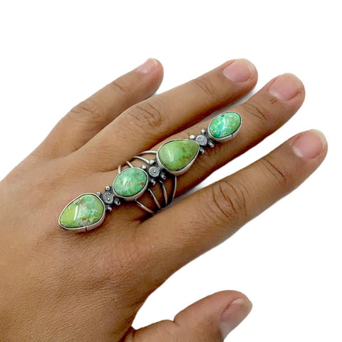 Image of Native American Ring - Navajo Large Sonoran Gold Turquoise 4-Stone Row Sterling Silver Ring - Sheila Becenti - Native American