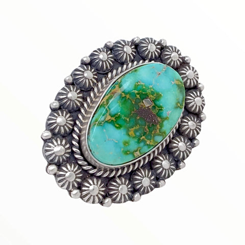 Image of Native American Ring - Navajo Large Sonoran Gold Turquoise Sterling Silver Stamped Beads Ring - Mike Calladitto - Native American