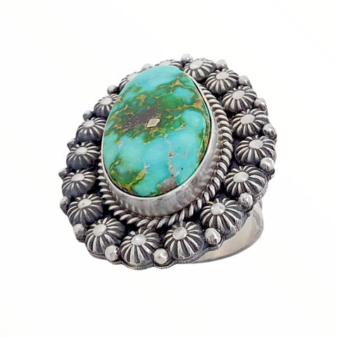 Native American Ring - Navajo Large Sonoran Gold Turquoise Sterling Silver Stamped Beads Ring - Mike Calladitto - Native American