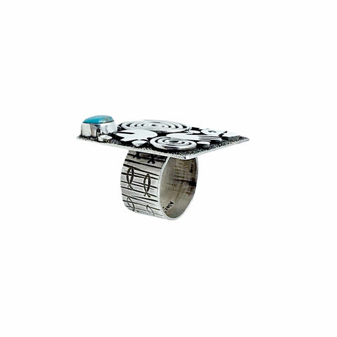 Native American Ring - Navajo Large Square Petroglyphs Kingman Turquoise Sterling Silver Wide Ring - Alex Sanchez - Native American