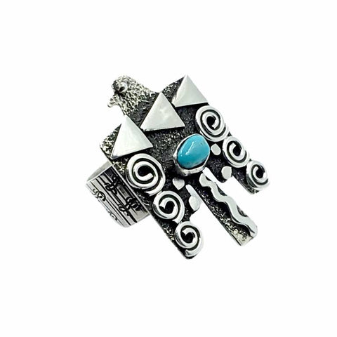 Native American Ring - Navajo Large Thunderbird Petroglyphs Sleeping Beauty Turquoise Sterling Silver Wide Ring - Alex Sanchez - Native American