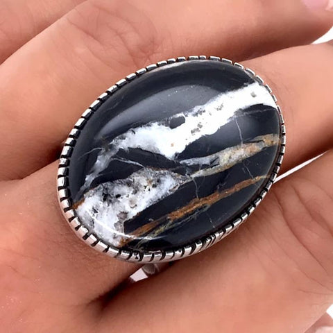 Image of Native American Ring - Navajo Large White Buffalo Oval Sterling Silver Ring - Native American