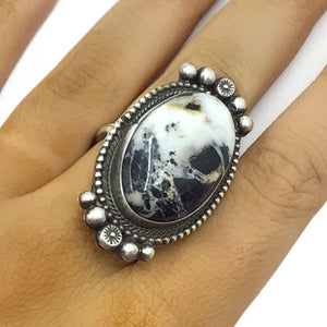 Native American Ring - Navajo Large White Buffalo Oval Sterling Silver Ring - Sheila Becenti - Native American