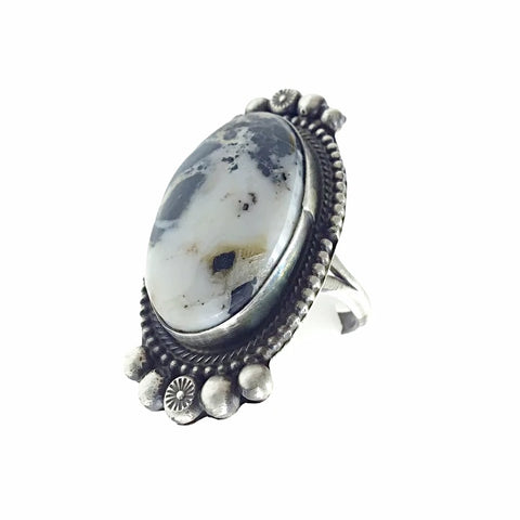 Image of Native American Ring - Navajo Large White Buffalo Oval Sterling Silver Ring - Sheila Becenti - Native American