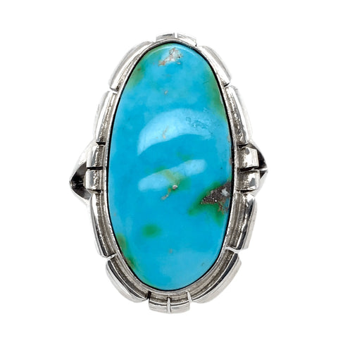 Image of Native American Ring - Navajo Long Oval Sonoran Turquoise Ring