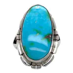 Native American Ring - Navajo Long Oval Sonoran Turquoise Ring