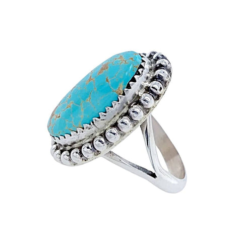 Image of Native American Ring - Navajo No. 8 Turquoise Sterling Silver Ring - Samson Edsitty - Native American