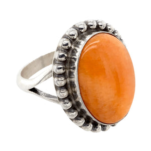 Native American Ring - Navajo Orange Oval Striated Spiny Oyster Ring