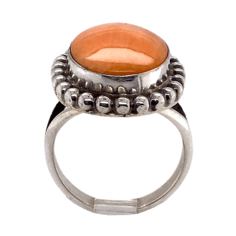Image of Native American Ring - Navajo Orange Oval Striated Spiny Oyster Ring