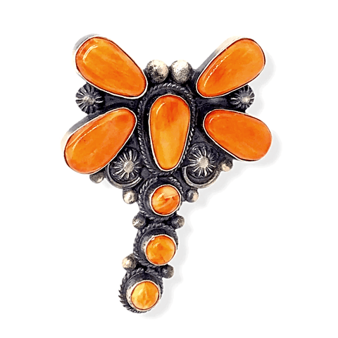 Image of Native American Ring - Navajo Orange Spiny Oyster Dragonfly Ring -Dean Brown