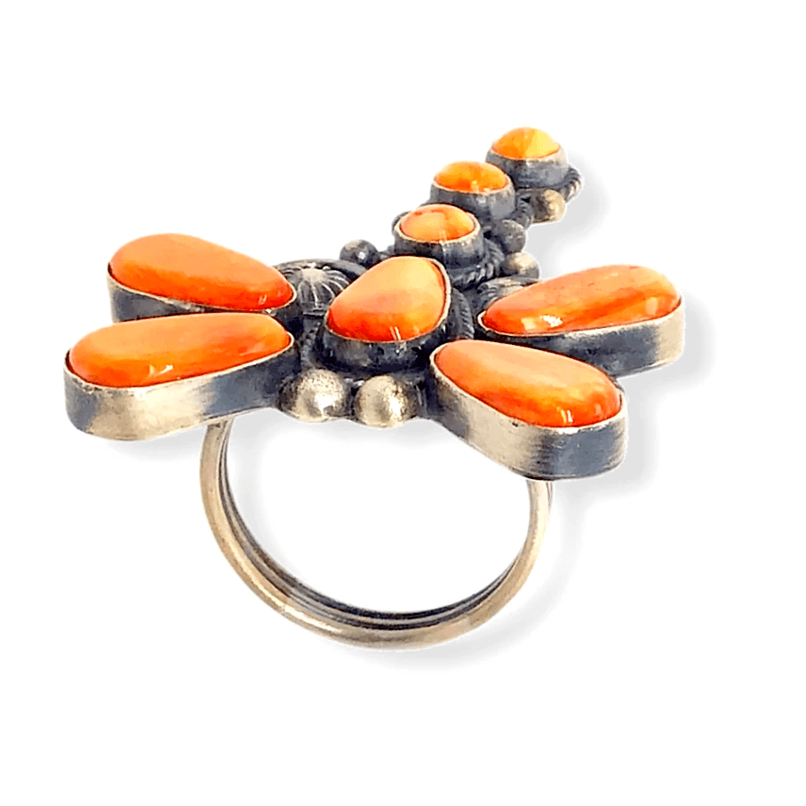 Native American Ring - Navajo Orange Spiny Oyster Dragonfly Ring -Dean Brown