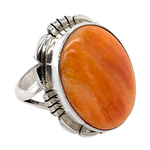 Native American Ring - Navajo Orange Striated Spiny Oyster Ring