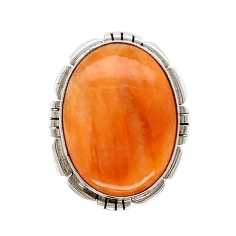Image of Native American Ring - Navajo Orange Striated Spiny Oyster Ring