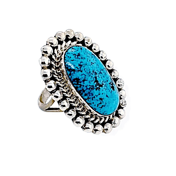 Native American Ring - Navajo Oval Kingman Turquoise Ring With Drops