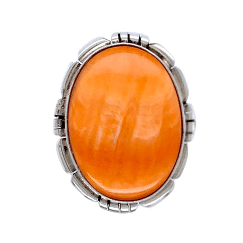 Image of Native American Ring - Navajo Oval Orange Striated Spiny Oyster Ring