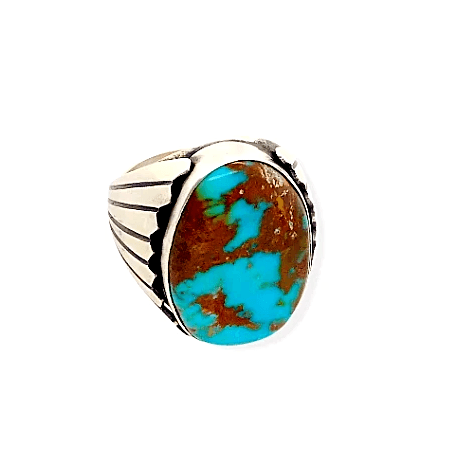 Native American Ring - Navajo Oval Royston Turquoise Ring - Paul Livingston