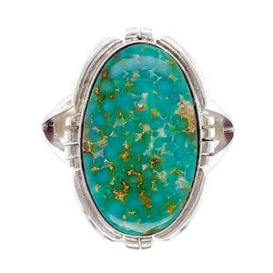 Native American Ring - Navajo Oval Sonoran Green Turquoise Ring