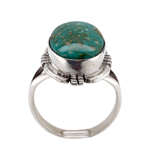 Image of Native American Ring - Navajo Oval Sonoran Green Turquoise Ring