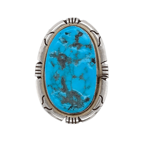 Image of Native American Ring - Navajo Rough Sleeping Beauty Turquoise Embellished Ring