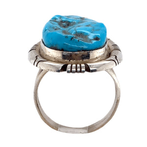 Native American Ring - Navajo Rough Sleeping Beauty Turquoise Embellished Ring