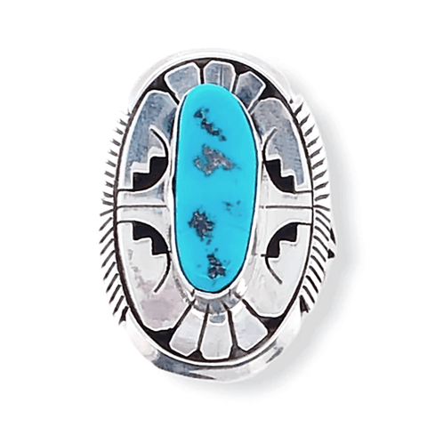Image of Native American Ring - Navajo Sleeping Beauty Turquoise Ring By Eugene Belone