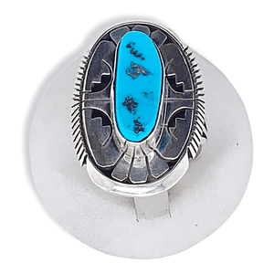 Native American Ring - Navajo Sleeping Beauty Turquoise Ring By Eugene Belone