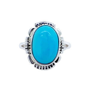 Native American Ring - Navajo Sleeping Beauty Turquoise Sterling Silver Ring - Native American