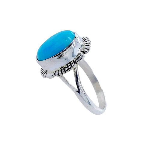 Image of Native American Ring - Navajo Sleeping Beauty Turquoise Sterling Silver Ring - Native American