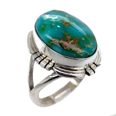 Image of Native American Ring - Navajo Sonoran Turquoise Ring -Plain Setting