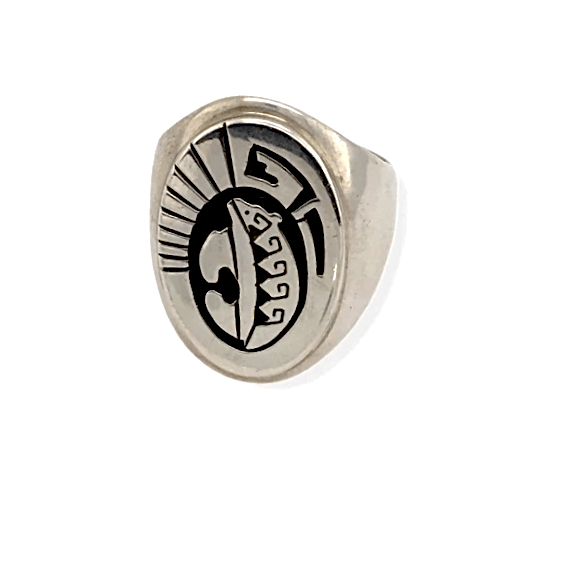 Native American Ring - Navajo Sterling Silver Ring With Bear Detail