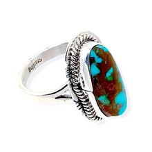 Load image into Gallery viewer, Native American Ring - Navajo Teardrop Pilot Mountain Turquoise Ring