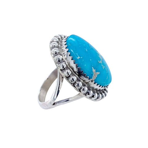 Native American Ring - Navajo Turquoise Mountain Turquoise Sterling Silver Ring - Samson Edsitty - Native American