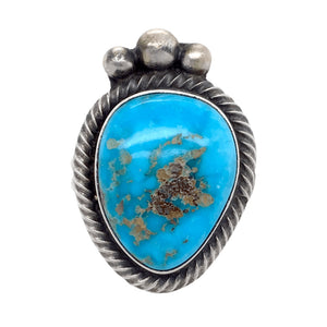 Native American Ring - Navajo Turquoise Triangle Kingman Turquoise Embellished Ring