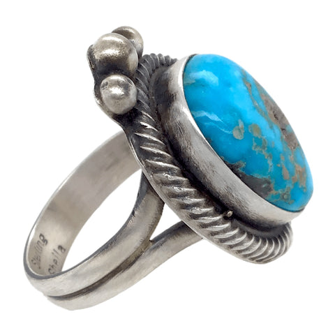 Image of Native American Ring - Navajo Turquoise Triangle Kingman Turquoise Embellished Ring