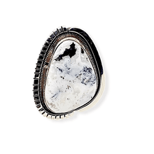 Load image into Gallery viewer, Native American Ring - Navajo White Buffalo Ring With Sterling Silver Cut Out Details