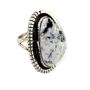 Native American Ring - Navajo White Buffalo Ring With Sterling Silver Cut Out Details