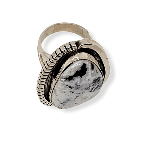 Image of Native American Ring - Navajo White Buffalo Ring With Sterling Silver Cut Out Details