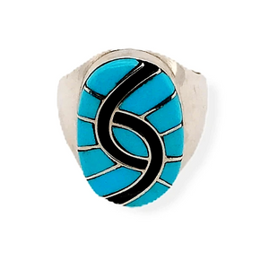 Native American Ring - Oval Handcrafted Zuni Sleeping Beauty Turquoise Ring -Amy Quandelacy