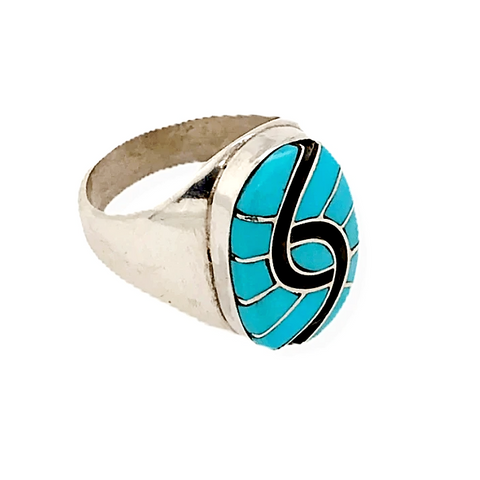 Image of Native American Ring - Oval Handcrafted Zuni Sleeping Beauty Turquoise Ring -Amy Quandelacy