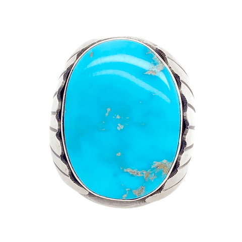 Native American Ring - Oval Navajo Kingman Turquoise Men's Ring - Paul Livingston