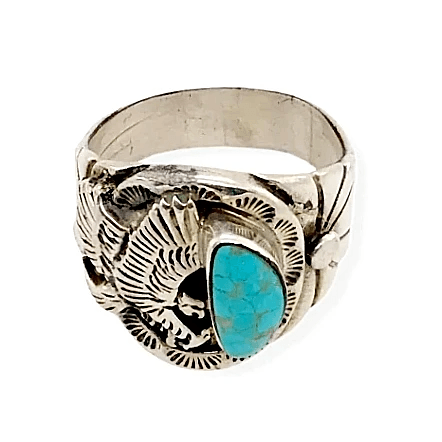 Image of Native American Ring - Paul Livingston Kingman Turquoise Ring With Eagle Detail - Navajo