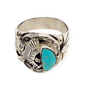 Native American Ring - Paul Livingston Kingman Turquoise Ring With Eagle Detail - Navajo
