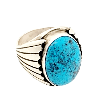 Image of Native American Ring - Paul Livingston Oval Spiderweb Kingman Turquoise Ring - Navajo