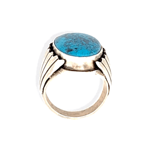 Native American Ring - Paul Livingston Oval Spiderweb Kingman Turquoise Ring - Navajo