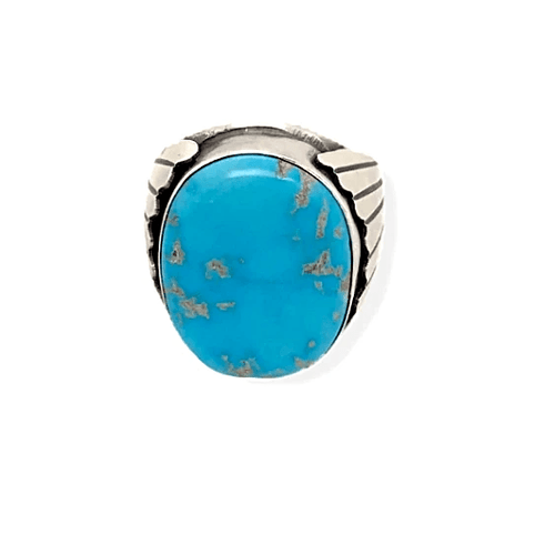 Native American Ring - Paul Livingston Round Kingman Turquoise Stone Ring - Navajo