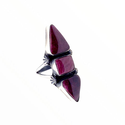 Native American Ring - Stunning Navajo Purple Spiny Oyster Triple Stone Statement Ring - Richard Begay - Native American