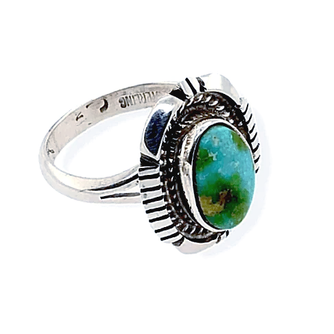 Native American Ring - Teardrop Sonoran Turquoise Ring With Sterling Silver Cut Out Design - Navajo