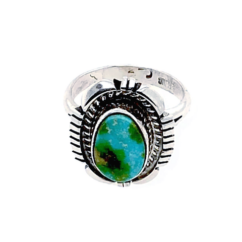 Image of Native American Ring - Teardrop Sonoran Turquoise Ring With Sterling Silver Cut Out Design - Navajo