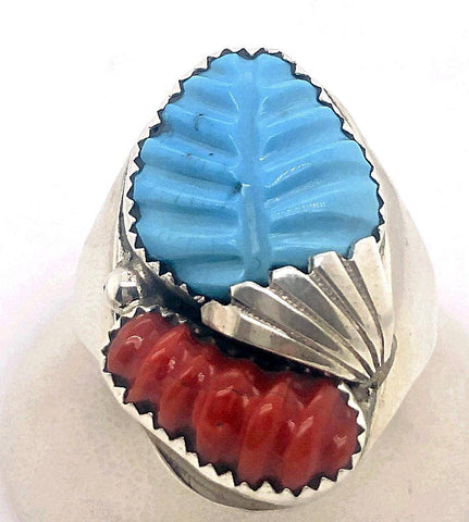 Image of Native American Ring - Zuni Men's Turquoise And Coral Ring